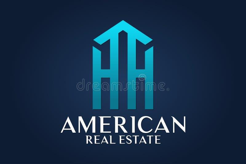 Real Estate, Gebäude, Haus, Bau und Architektur Logo Vector Design lizenzfreie abbildung