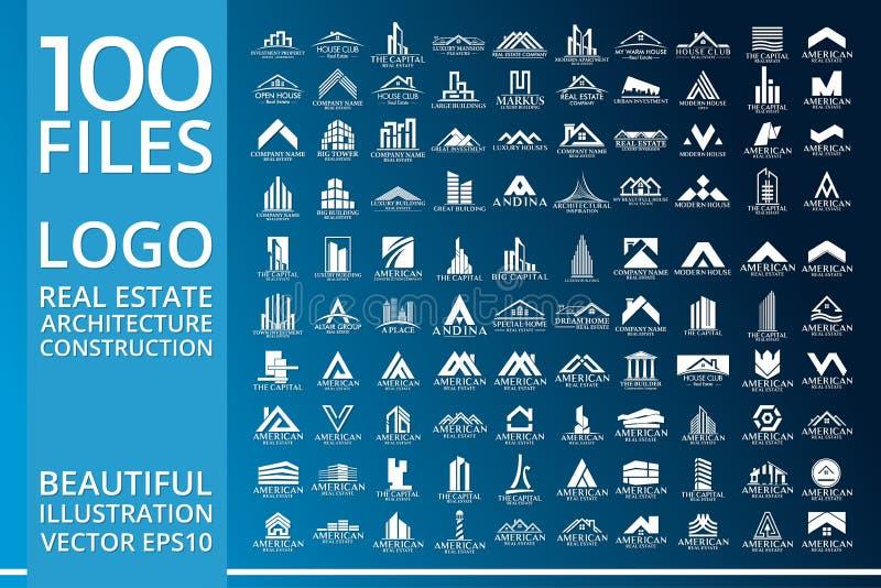 Real Estate, Gebäude, Haus, Bau und Architektur Logo Vector Design stock abbildung