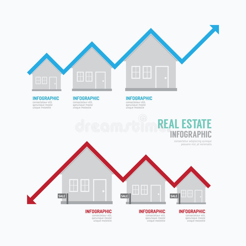 Real Estate Graph designen Infographic Begreppsvektor Illustratio royaltyfri illustrationer