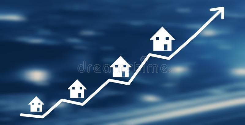 Real Estate Graph. House market growth vector illustration