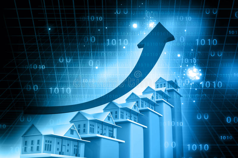 Real estate growth cart. Abstract financial background
