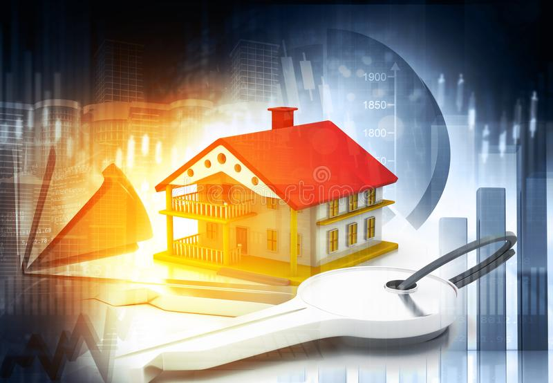 Real estate growth cart stock illustration