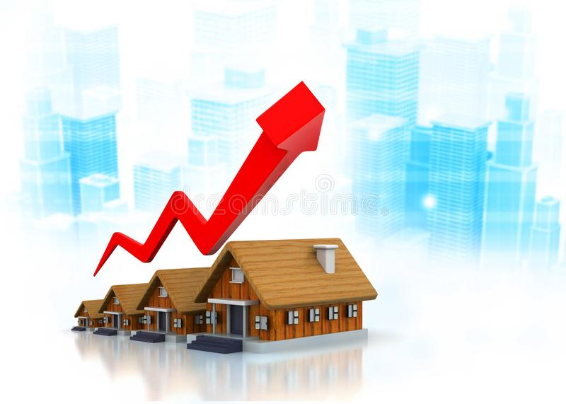 Real estate growth cart royalty free illustration
