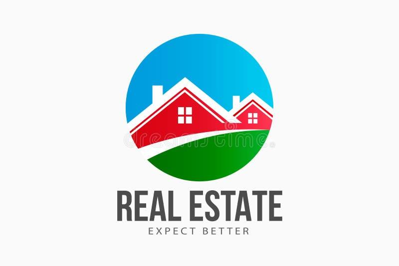 Real Estate-Häuser kreisen Logo ein vektor abbildung