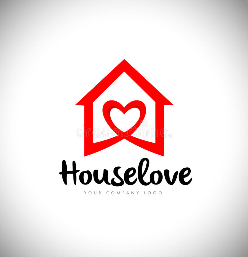 Real Estate Heart Love Logo House royalty free illustration