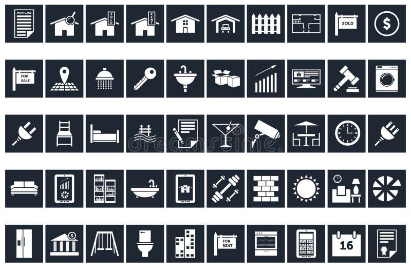 50 Real Estate & hem- symboler vektor illustrationer