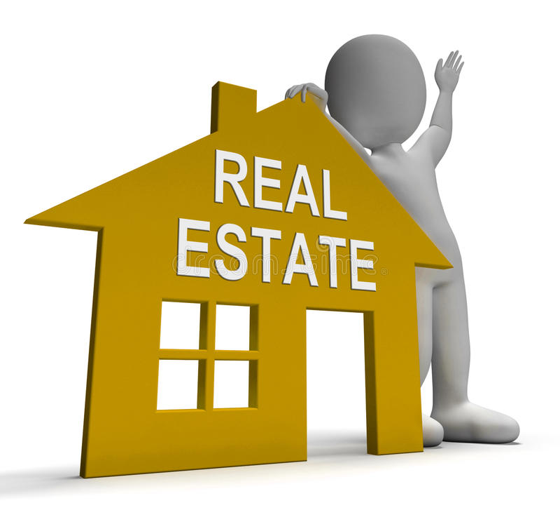 Real Estate-het Huis toont Land en Gebouwen voor Verkoop vector illustratie