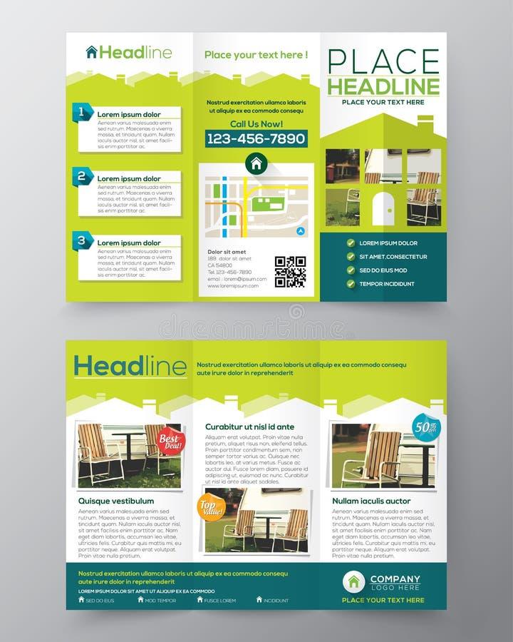 Real Estate-het ontwerp vectormalplaatje van de Brochurevlieger in A4 grootte stock illustratie