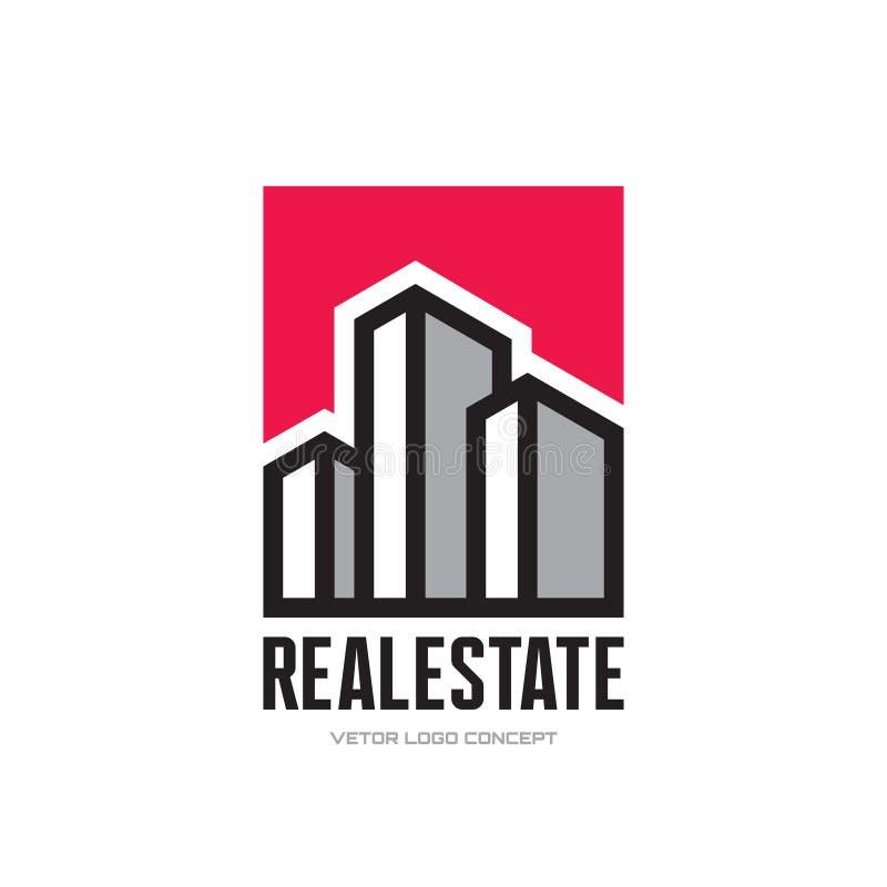 Real Estate - het vectorconcept van het embleemmalplaatje De moderne illustratie van het gebouwenteken Reeks voor u ontwerp Het e vector illustratie