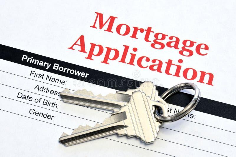 Real Estate Hipoteczny zastosowanie Z Domowymi kluczami zdjęcie royalty free
