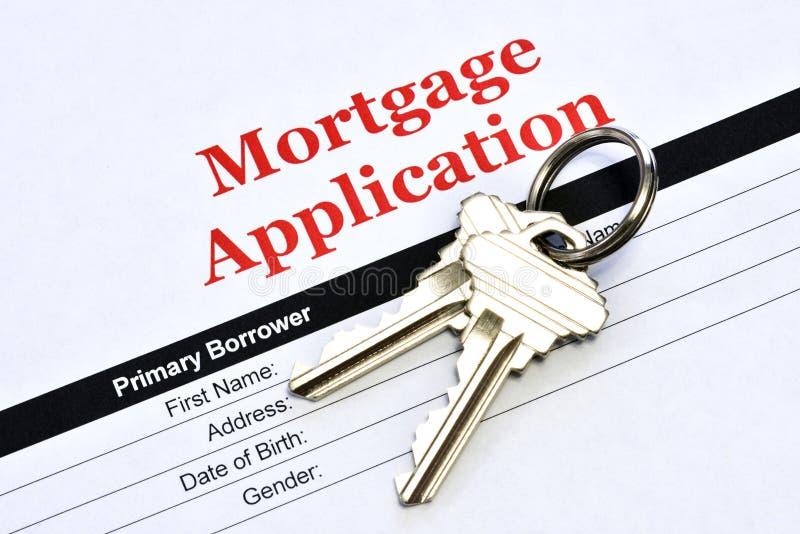 Real Estate Hipoteczny zastosowanie Z Domowymi kluczami obrazy royalty free