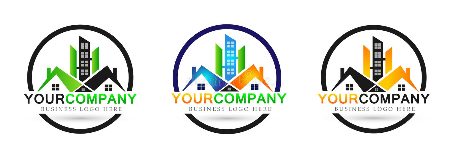 Real estate home company house logo set icon on white background stock illustration