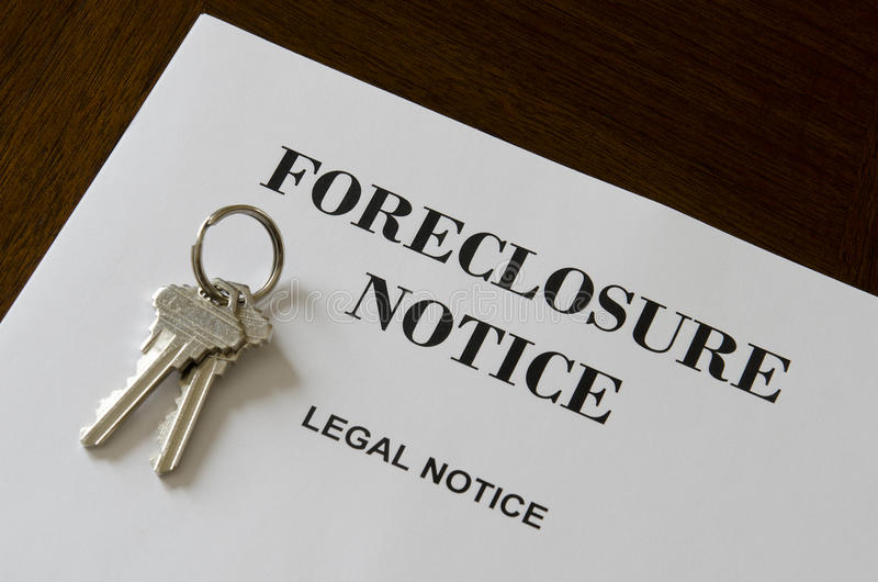 Real Estate Home Foreclosure Legal Notice And Keys royalty free stock photos