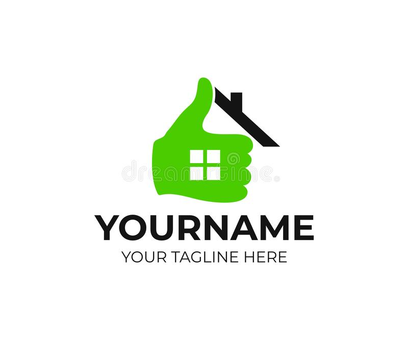 Real estate, home, house, hand and thumb up, logo design. Realtor, real property and construction, vector design stock illustration