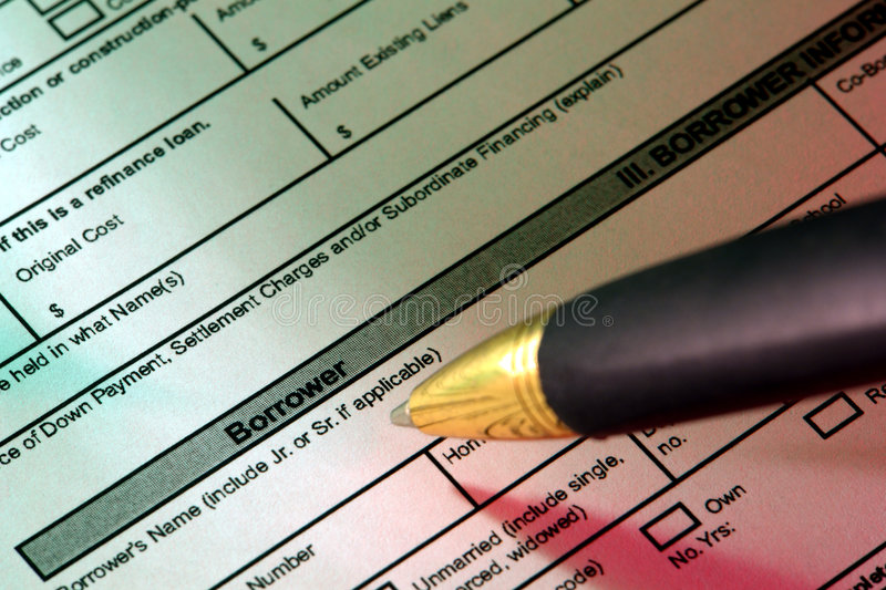 Real Estate Home Loan Application and Ink Pen stock photography