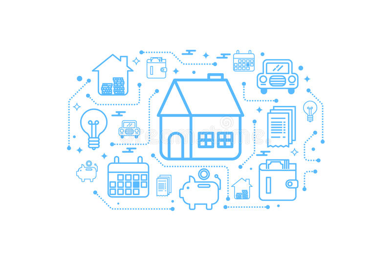 Real estate home outline icon concept royalty free illustration
