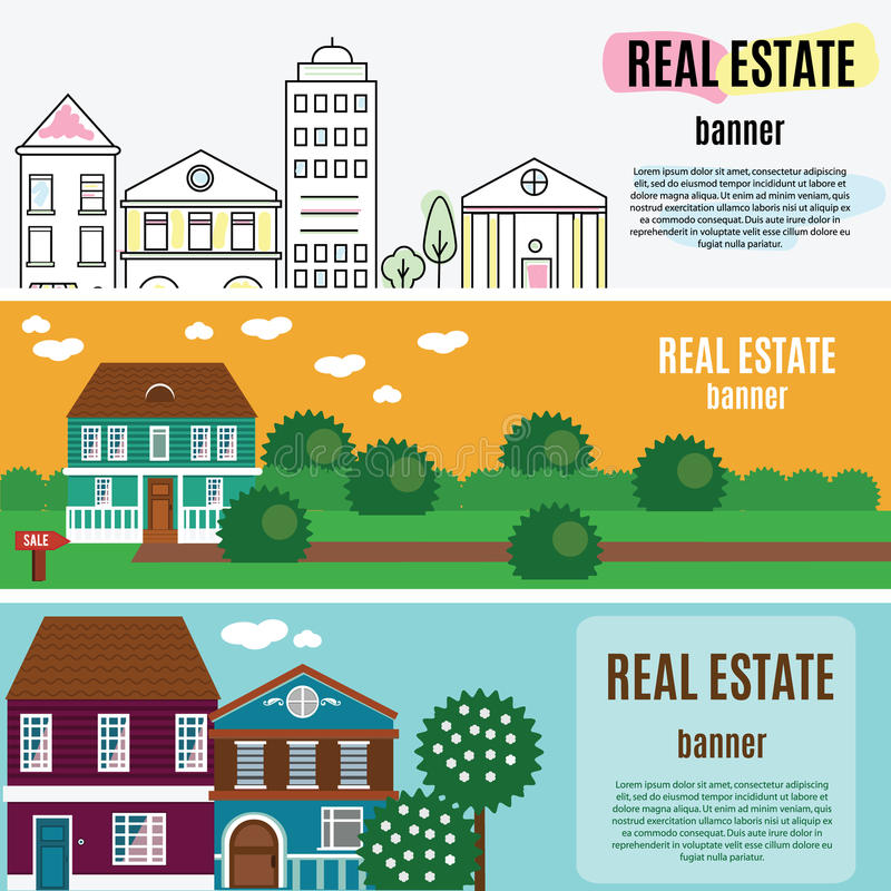 Real estate horizontal banners. House, cottage, townhouse, home vector illustration. Web banners for agency an other estate business royalty free illustration