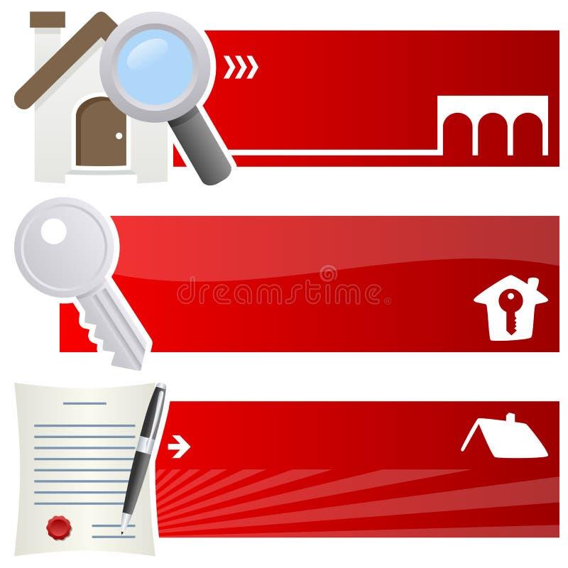 Real Estate Horyzontalni sztandary ilustracja wektor