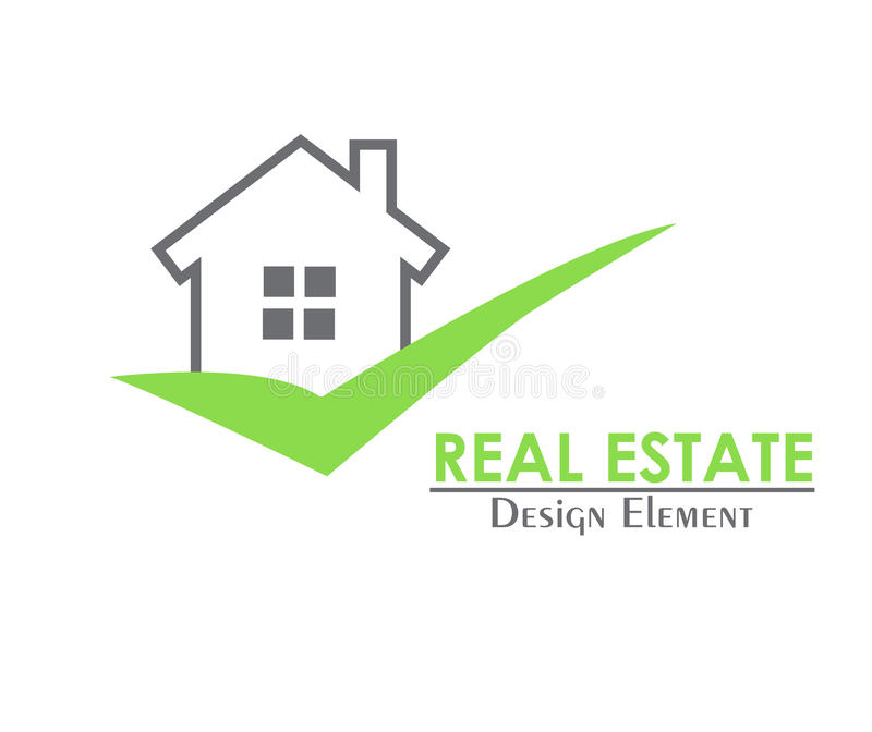 Real estate house logo with a green check mark royalty free illustration