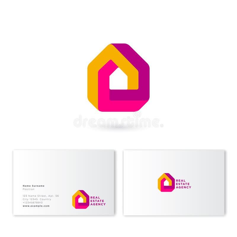 Real estate house logo. Impossible figure like a house. Construction, property company emblem. stock illustration