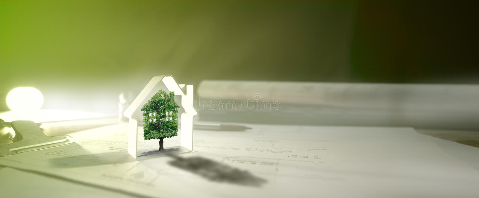 Real estate, house, tree, ecology. Environment and business stock image