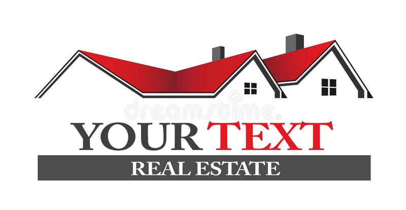 Real estate houses logo. Group of houses in red and black color