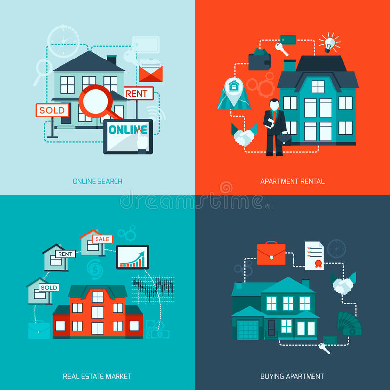 Real Estate Icon. Real estate design concept set with online search apartment rental market buying flat icon vector illustration royalty free illustration