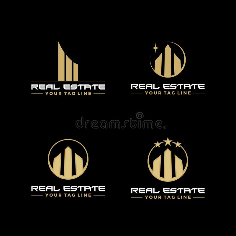 Real estate icon logo symbol set design collections popular sign of building royalty free illustration