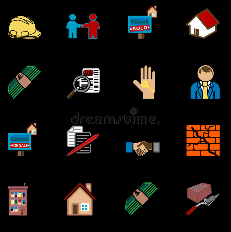 Real estate icon series set royalty free illustration