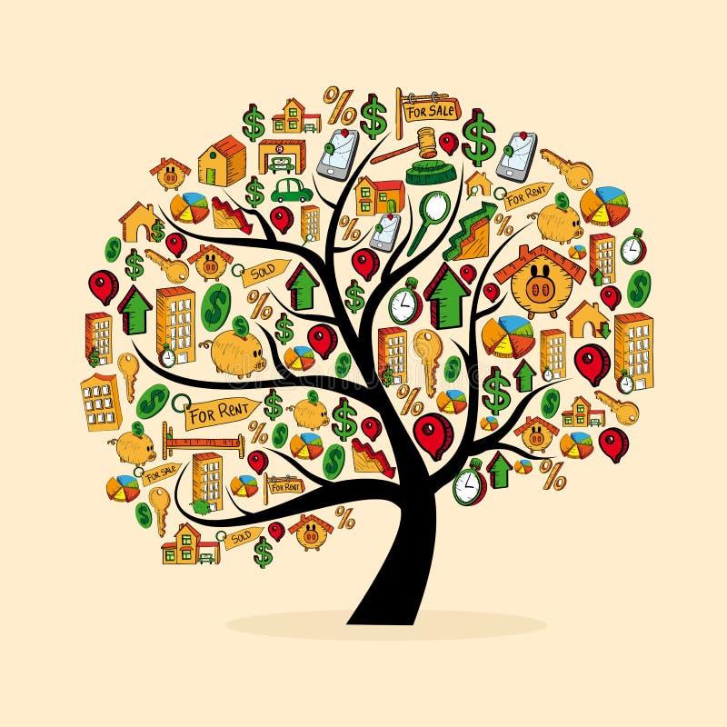 Real estate icon set tree stock illustration
