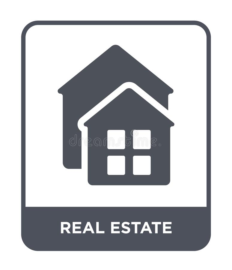 Real estate icon in trendy design style. real estate icon isolated on white background. real estate vector icon simple and modern. Flat symbol for web site royalty free illustration