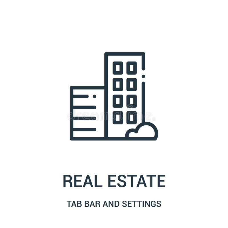 real estate icon vector from tab bar and settings collection. Thin line real estate outline icon vector illustration vector illustration