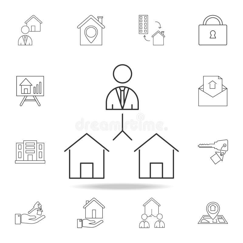 Real Estate - icona scelta della Camera Insieme delle icone dell'elemento del bene immobile di vendita Progettazione grafica di q illustrazione di stock