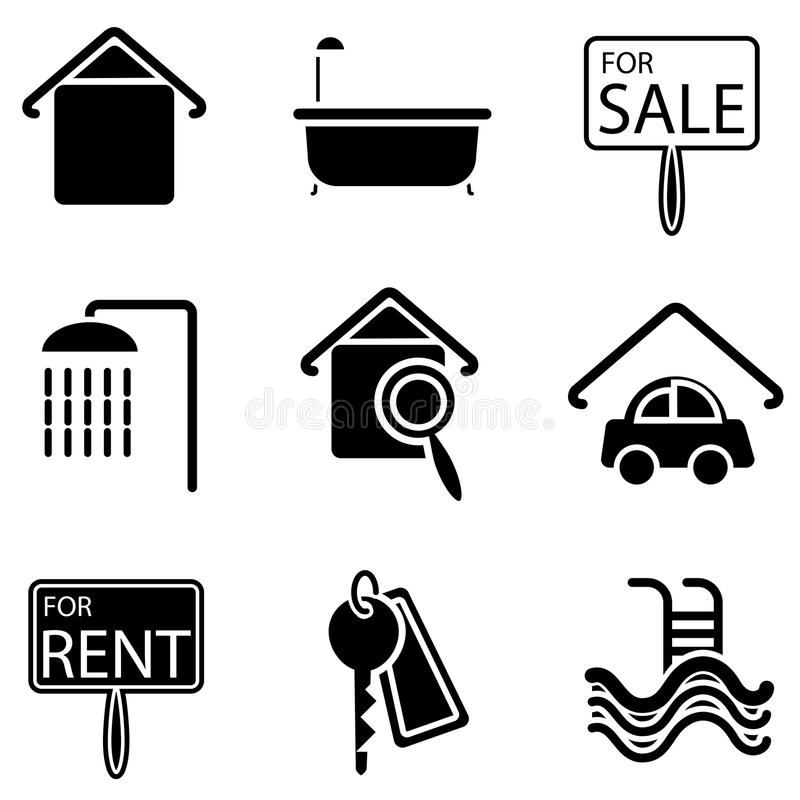 Real estate icons royalty free illustration