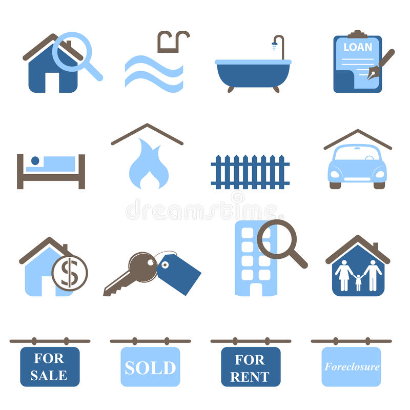 Free Real Estate Icons Royalty Free Stock Photos - 18754308