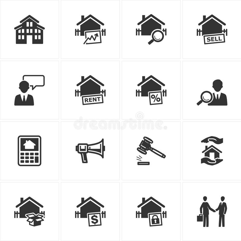 Real Estate Icons stock illustration