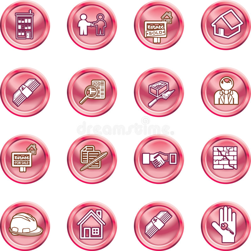 Real Estate Icons. Icons or design elements related to home / house buying, real estate, or estate agents. No meshes used stock illustration