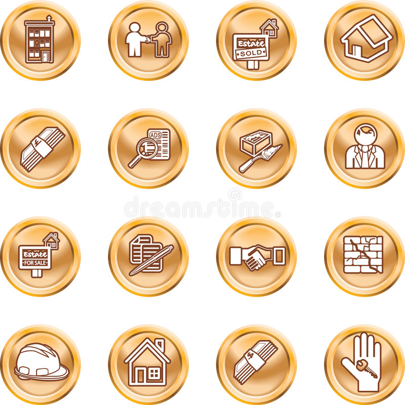 Real Estate Icons. Icons or design elements related to home / house buying, real estate, or estate agents. No meshes used royalty free illustration