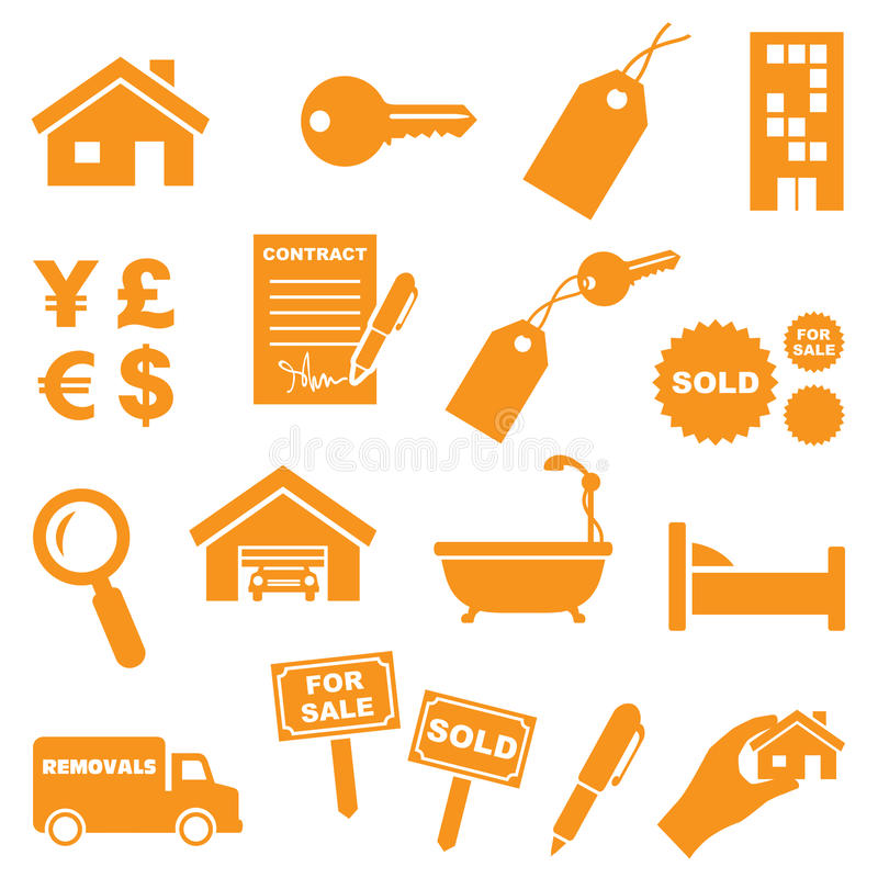 Free Real Estate Icons Royalty Free Stock Photography - 45749257