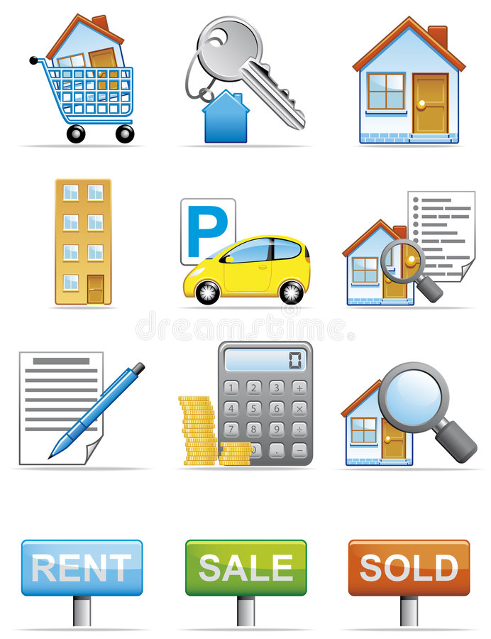 Download Real estate icons stock vector. Image of money, sold, cart - 7888689