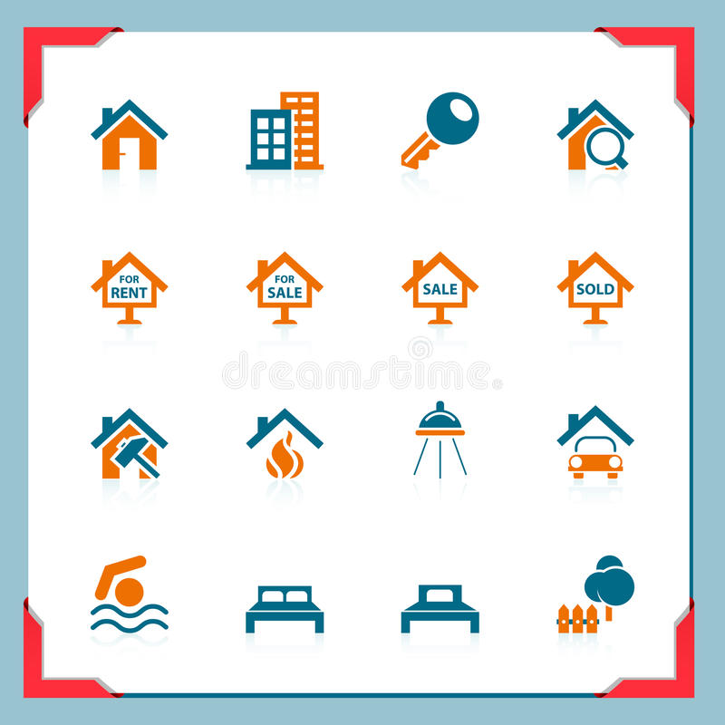 Real estate icons | In a frame series royalty free illustration