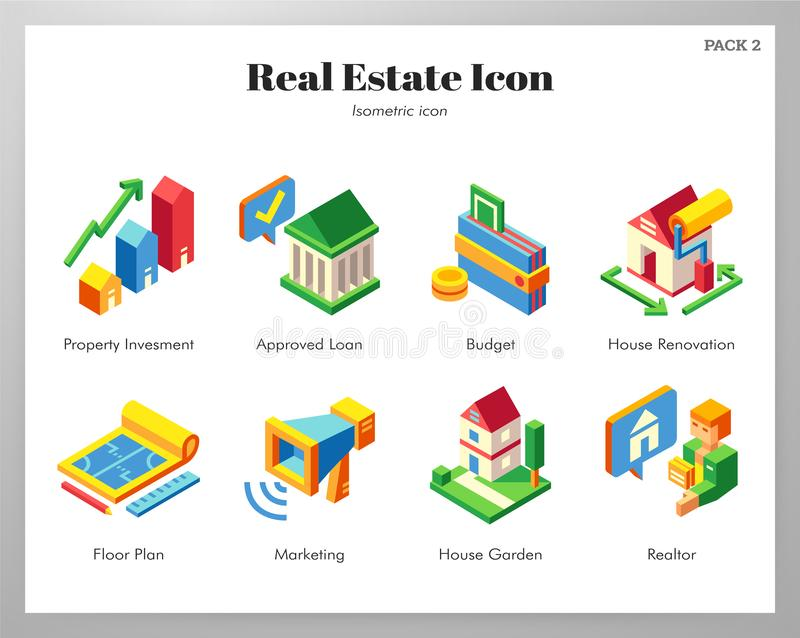 Real estate icons Isometric pack royalty free illustration