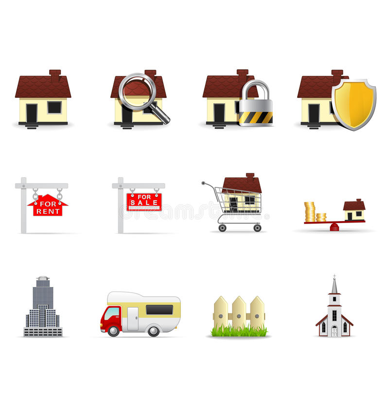 Real estate icons, part 1 royalty free illustration