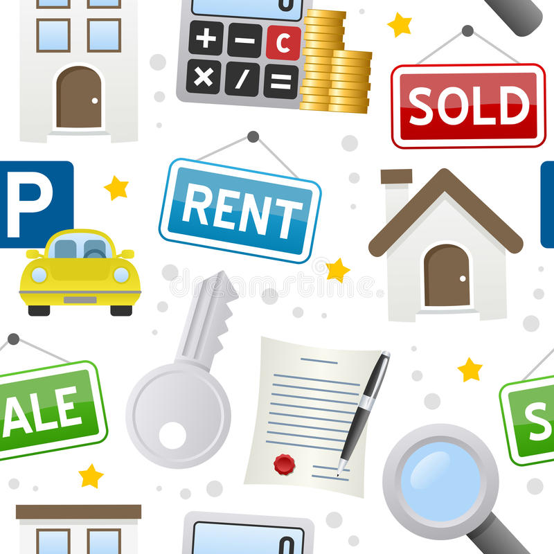 Real Estate Icons Seamless Pattern stock illustration