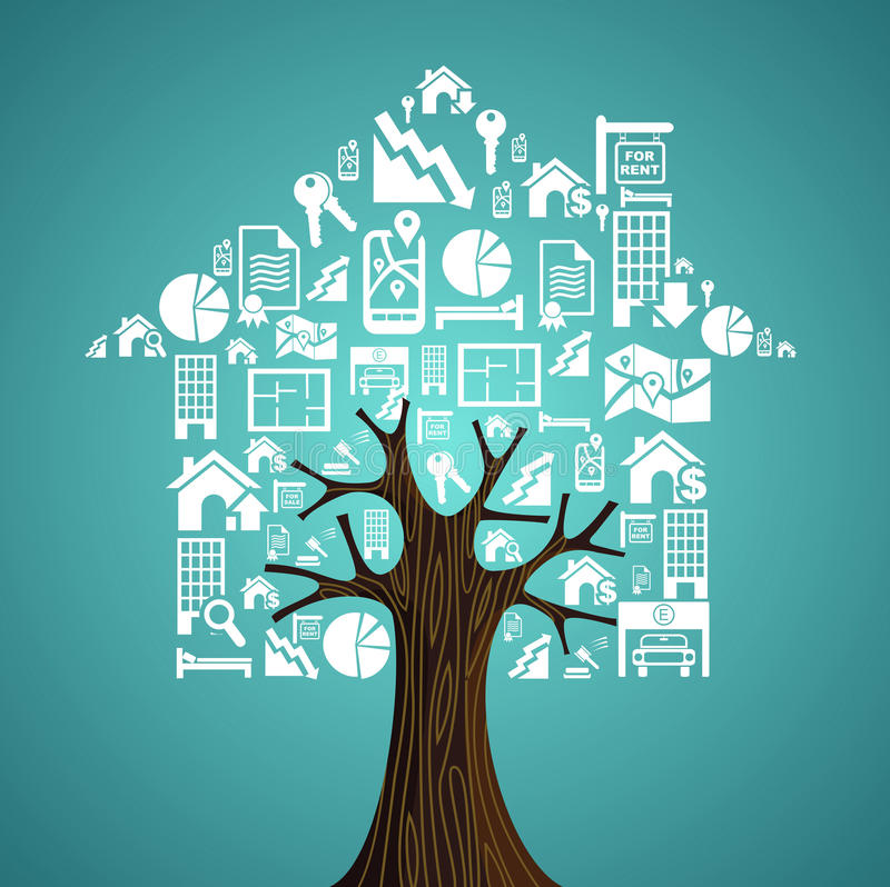 Real estate icons tree house stock photography