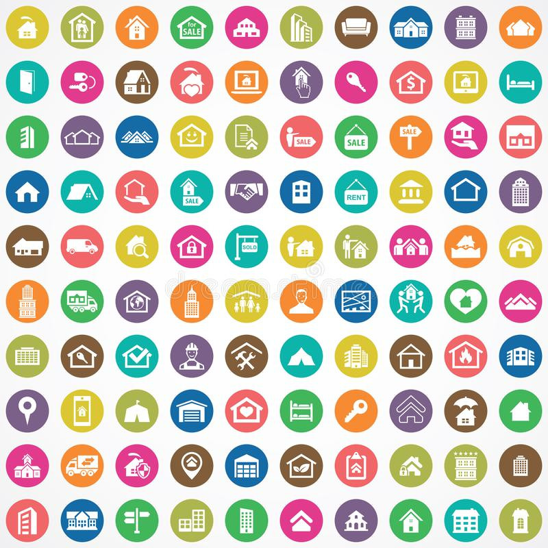 Real estate 100 icons universal set. For web and mobile royalty free illustration