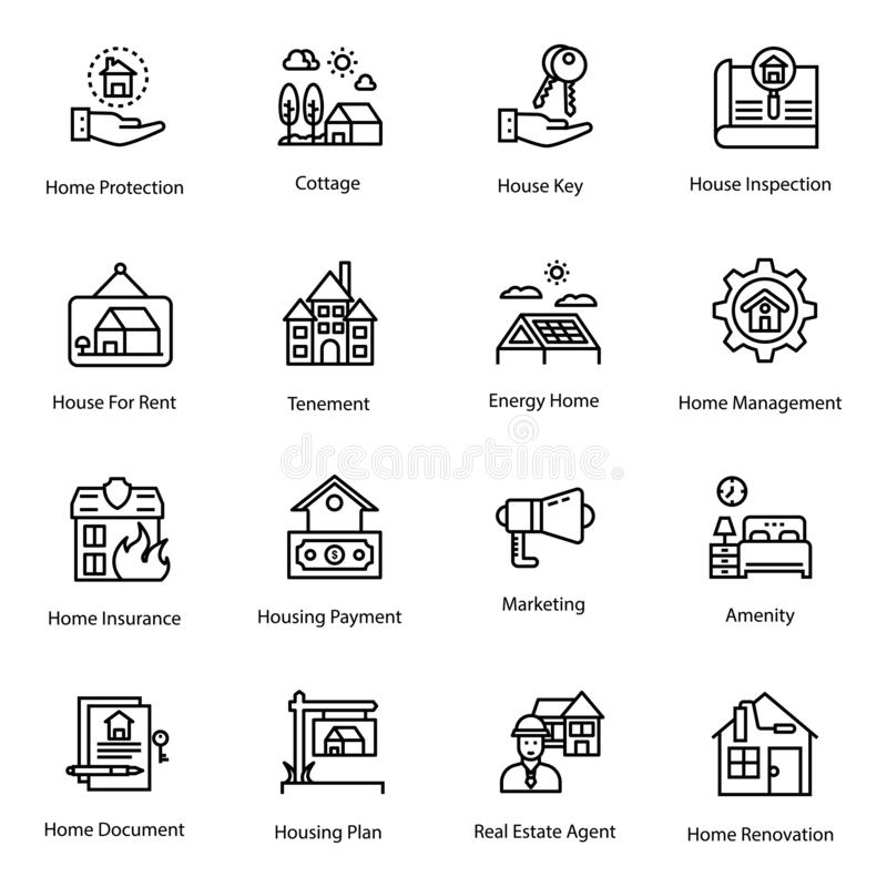 Real Estate ikon paczka ilustracja wektor