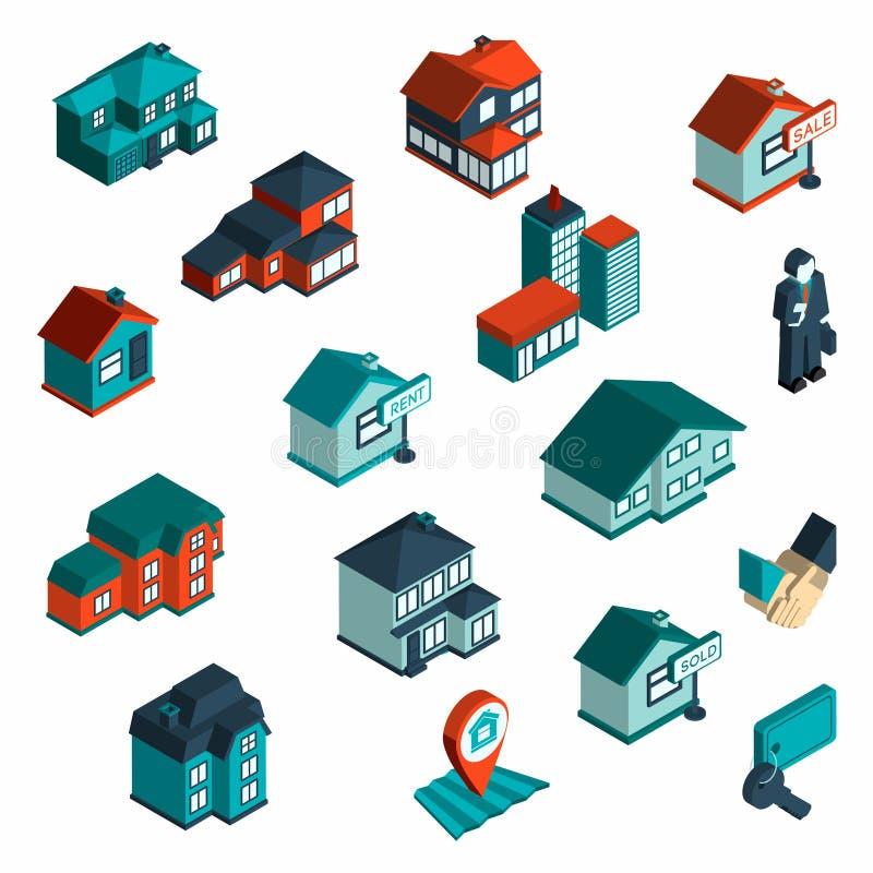 Real Estate ikona Isometric ilustracja wektor