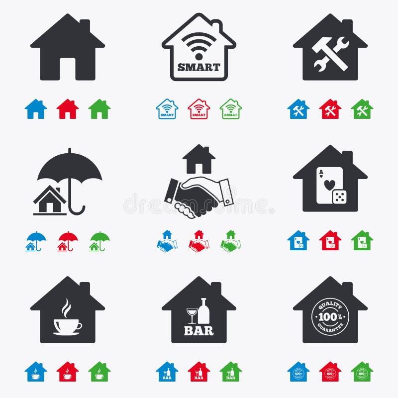 Real Estate-Ikonen Hausversicherungszeichen vektor abbildung