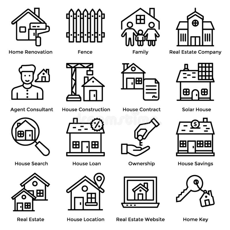 Real Estate-Ikonen vektor abbildung